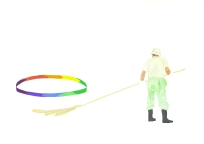 'Shrine sweeper with light circle', 2010, watercolour on 300gsm Arches, 14.9cm x 21.1cm