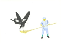 'Shrine sweeper and butterfly', 2010, watercolour on 300gsm Arches, 14.9cm x 21.1cm