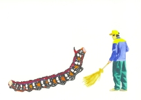 'Kazakh sweeper (Life and Death)', 2010, watercolour on 300gsm Arches, 14.9cm x 21.1cm