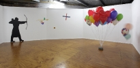55_warrior-constructivisim-2011-acrylic-on-wall-balloons-and-cement-paver-milani-gallery-brisbane
