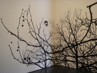'Treescape Silhouette (Wall Drawing #1)', 2006, acrylic on wall and canvas, 265cm x 259cm x 203cm, VCA Margaret Lawrence Gallery