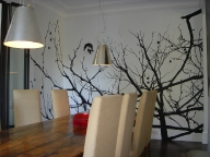 'Treescape Silhouette (Wall Drawing #2)', 2006, acrylic on plaster wall and canvas, 298.5cm x 342cm x 170cm, Private Residence, Melbourne
